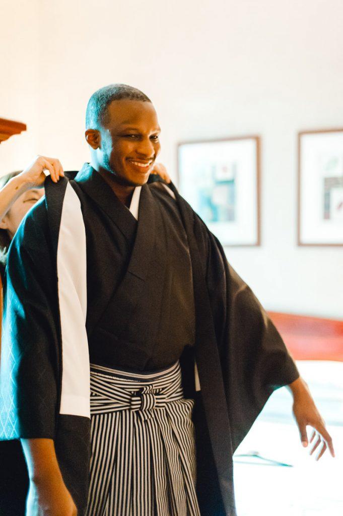 Japanese wedding Kimono men montsuki